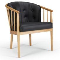fauteuil cuir bois Achat fauteuil cuir bois pas cher Rue du merce