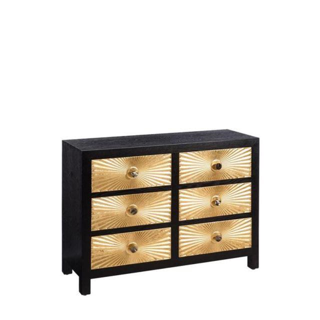 Tousmesmeubles Commode 6 tiroirs Noir/Or - Monoi - L 110 x l 40 x H 82