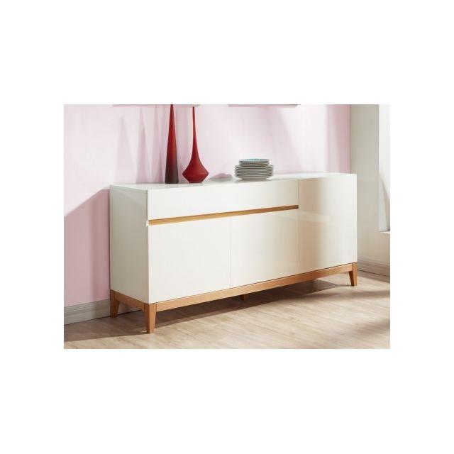 Buffet SEDNA - 3 portes & 1 tiroir - Chêne massif & MDF laqué blanc