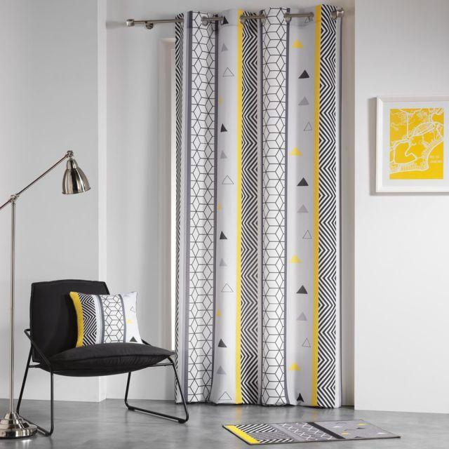 douceur dint/érieur rideau a oeillets 140x260 cm microfibre absolu blanc