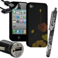 Karylax - Housse Étui Coque en Gel + Chargeur Voiture Auto + Stylet pour Apple Iphone 4 / 4S avec motif Hf33