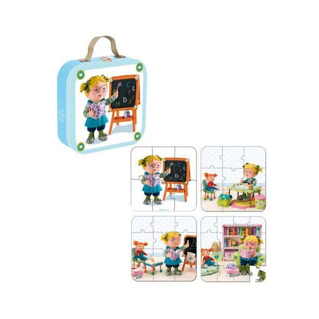 JANOD Valisette 4 Puzzles Lisa Joue à la maitresse