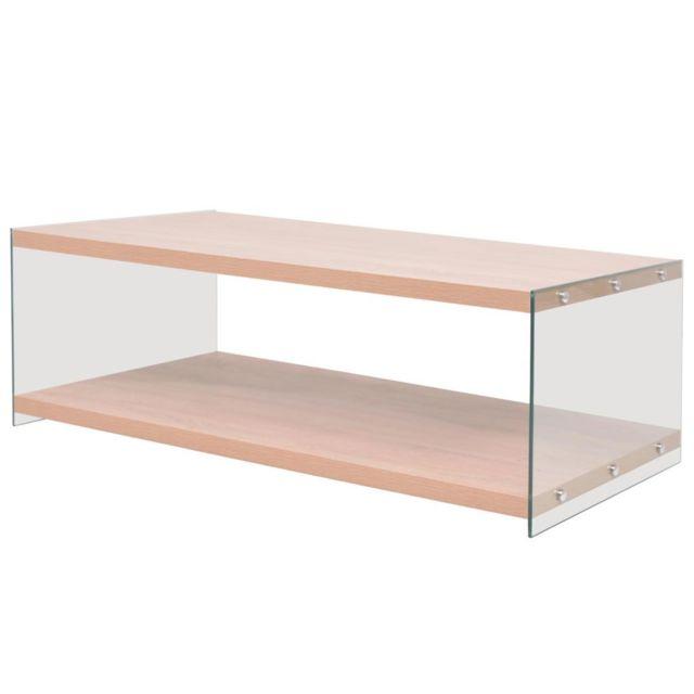 Vidaxl Table Basse avec Étagère Mdf Verre Couleur Chêne Table de Salon