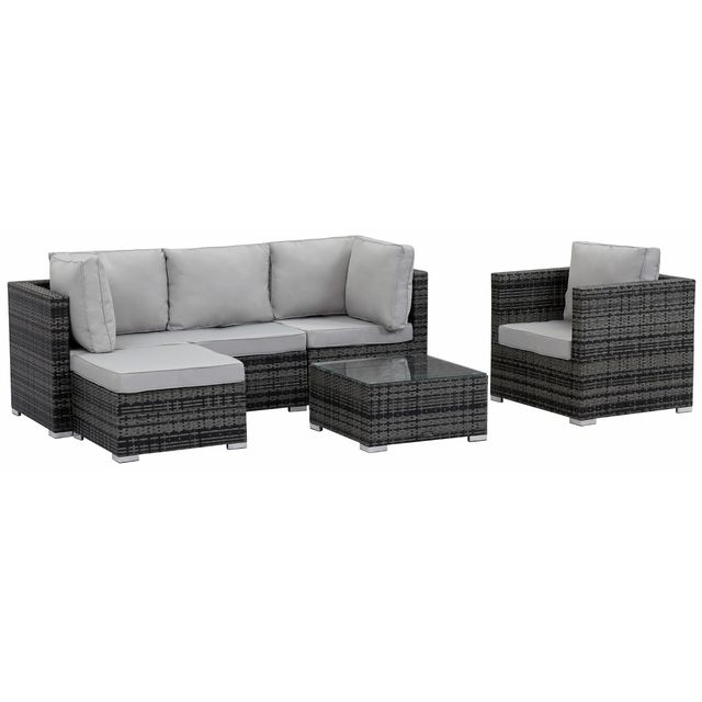 habitat et jardin salon de jardin en r sine tress e ibiza florida gris pas cher achat. Black Bedroom Furniture Sets. Home Design Ideas