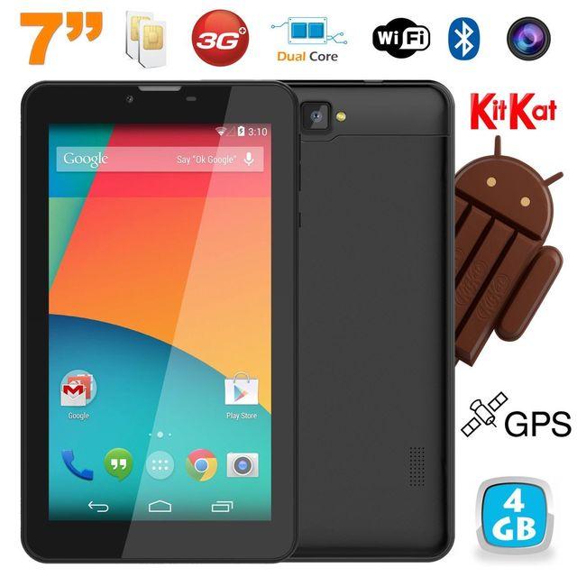 Yonis Tablette tactile 3G 7 pouces Android 4.4 Dual core Sim Gps 4Go Noir