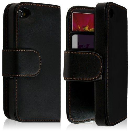 housse coque etui portefeuille pour apple iphone 4 4s couleur noir