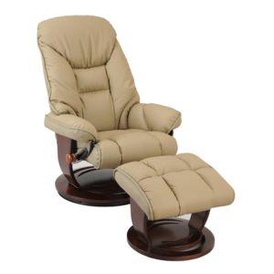 seniortys fauteuil relax en cuir pivotant avec repose pieds et pi tement bois ramses pas. Black Bedroom Furniture Sets. Home Design Ideas