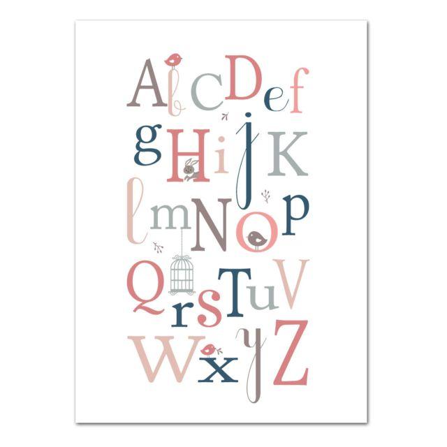 Adzif Biz Poster Abecedaire Fille Oiseaux Dimensions 50 X 70 Cm Papier Brillant Pas Cher Achat Vente Affiches Posters Rueducommerce