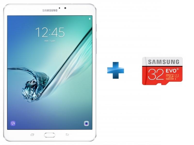 Galaxy S2 VE - SM-T713NZWEXEF - Wifi - Blanc + Micro SDHC EVO Plus 32 Go + Adaptateur SD
