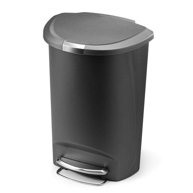 simplehuman poubelle semi round plastique p dale 50l gris pas cher achat vente poubelle. Black Bedroom Furniture Sets. Home Design Ideas