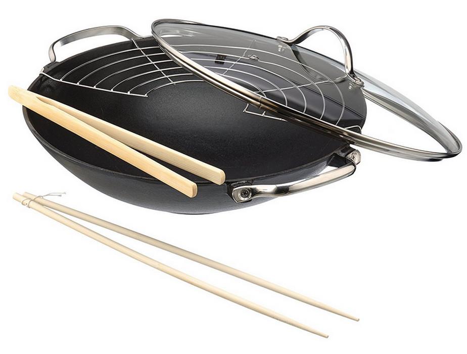 wok en fonte 30 cm avec couvercle - 14300734