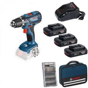 Bosch - Perceuse visseuse GSR 18V 2-LI - 3 batteries 18V 1,5Ah Li-Ion + sacoche + 25 accessoires - 06019E6101