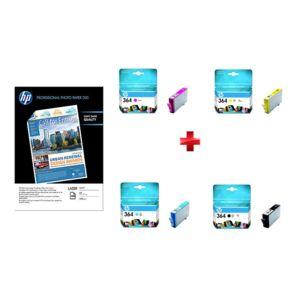 HP - Pack - Cartouche d'encre Noire n° 364 - CB316EE - Jaune n° 364 - CB320EE - Cyan n° 364 - CB318EE - Magenta n°364 - CB319EE - Capacité 250pages - Pack de 100 feuilles papier photo mat, A4, 200 g/m2 Q6550A