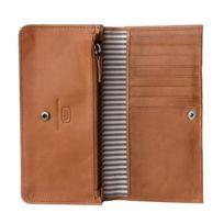 Antica Toscana - Portefeuille pour femme en Cuir Véritable Italien à 2 soufflets Porte-cartes de crédit Porte-monnaie avec rabat et zip intérieure Miel