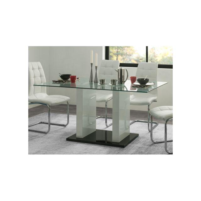 Table à manger SAMIRA - 6 couverts - Verre trempé & MDF laqué blanc