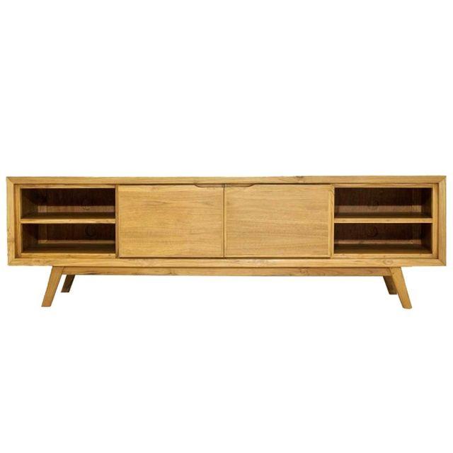 paris prix meuble tv 2 portes 4 niches fiftees 180cm naturel beige pas cher achat vente. Black Bedroom Furniture Sets. Home Design Ideas