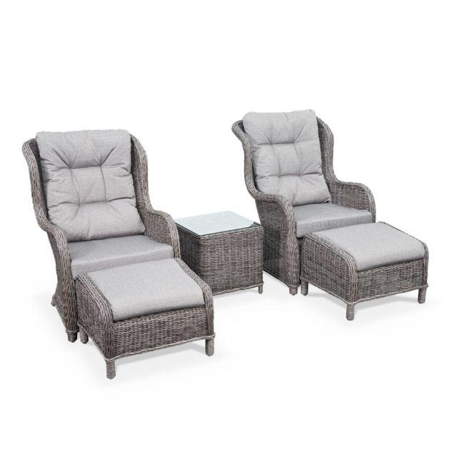 ALICE'S GARDEN Fauteuils relax en résine tressée ronde avec repose pieds et table basse - Guiluce