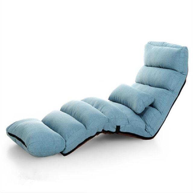 Wewoo Fauteuil Canapé moderne Lit Salon Chaise inclinable Canapé-lit rabattable Bleu