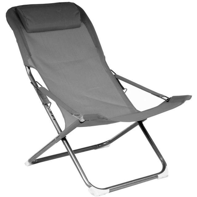PROLOISIRS Chaise relax en acier et toile Easy Lot de 2