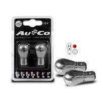 Adnauto - 2 Ampoules Ba15S Chromees - 12V - 21W - Eclairage Rouge - plots alignes - Feux de stop