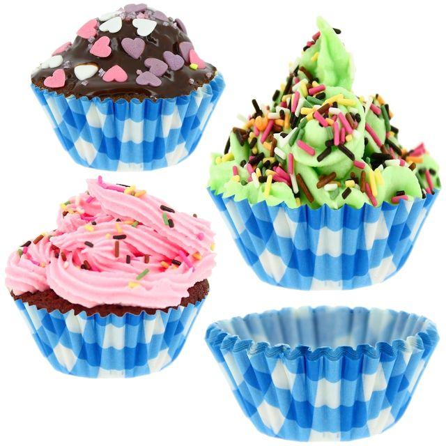 promobo lot 132 moules muffins et cupcakes en papier vichy gourmand bleu pas cher achat. Black Bedroom Furniture Sets. Home Design Ideas