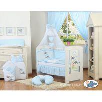 Autre - Lit et parure de lit bébé âne bleu ciel de lit mousseline 120 60