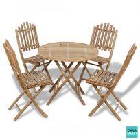 Casasmart - Lot d'une table et 4 chaises pliables bambou