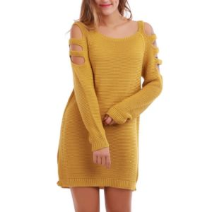 Robe pull jaune moutarde