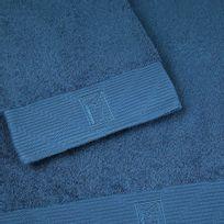 Bailet - Drap de bain uni - Intemporel - bleu colvert - Coton peigné 100