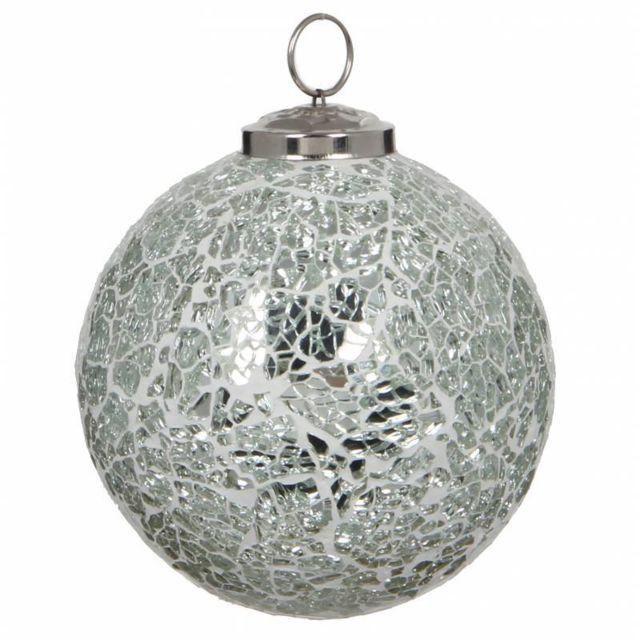 L'HÉRITIER Du Temps   Boule de Noël Ronde en Verre Craquelé