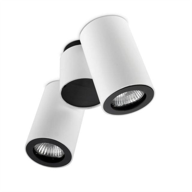 Leds C4 Plafonnier Pipe, aluminium, blanc et noir,2 abat-jour