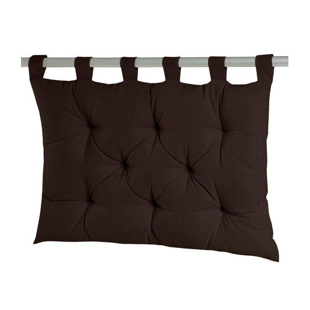Dhf Coussin tête de lit à passants 8 capitons uni 100% coton 60x80cm Romeo - Cacao
