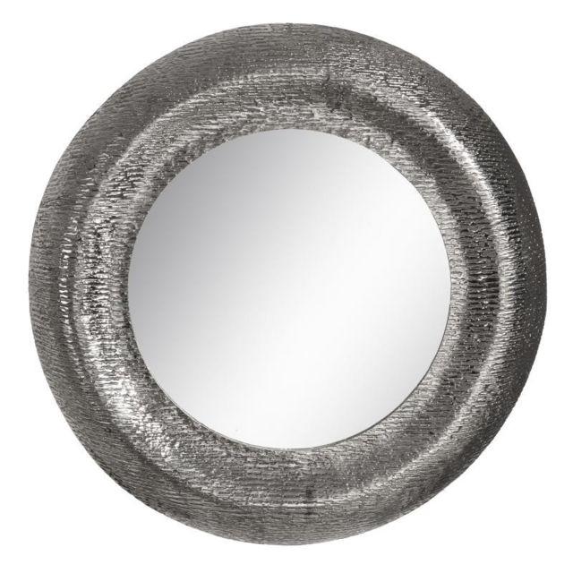 Tousmesmeubles Miroir rond Métal argenté taille M N°2 - Ammi