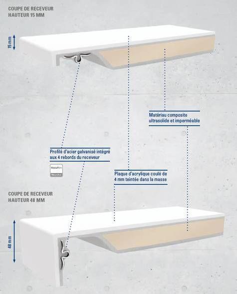 VILLEROY & BOCH - Villeroy et Boch - Receveur Architectura Metalrim -Villeroy et Boch hauteur 15mm, 140 x 90