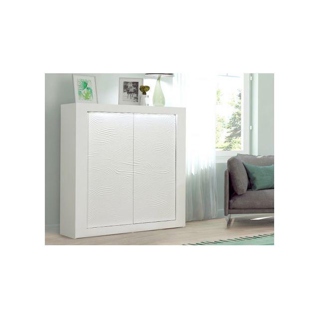 Buffet haut ECLIPSE - LEDs - MDF laqué blanc - 2 portes