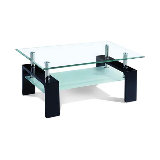 Sofamobili Table basse noir laqué et verre design Ottavia 2