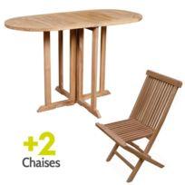 Teck'ATTITUDE - Salon de jardin en teck Ecograde© Tahiti, table pliante 120 x 60 cm + 2 chaises Java