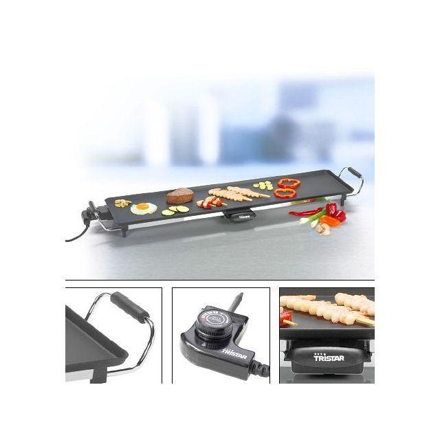 Tristar - Grill de table - Plancha - Modèle Xxl - Avec bac collecteur des graisses - Dimensions 23 x 90cm