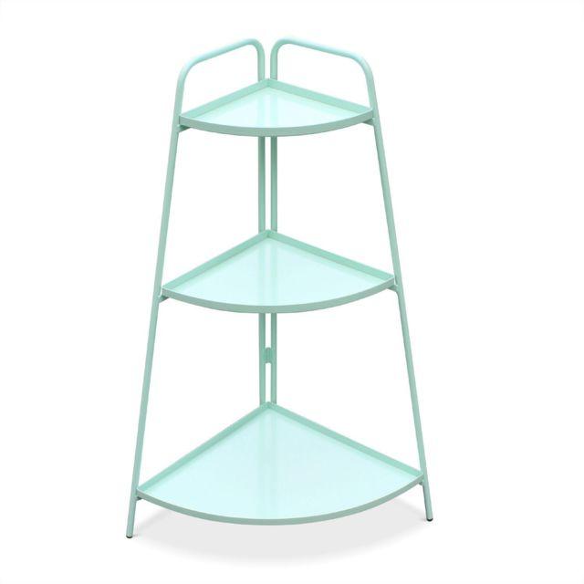 ALICE'S GARDEN Étagère d'angle Alicia vert d'eau, meuble de rangement pour intérieur et extérieur, 3 étages