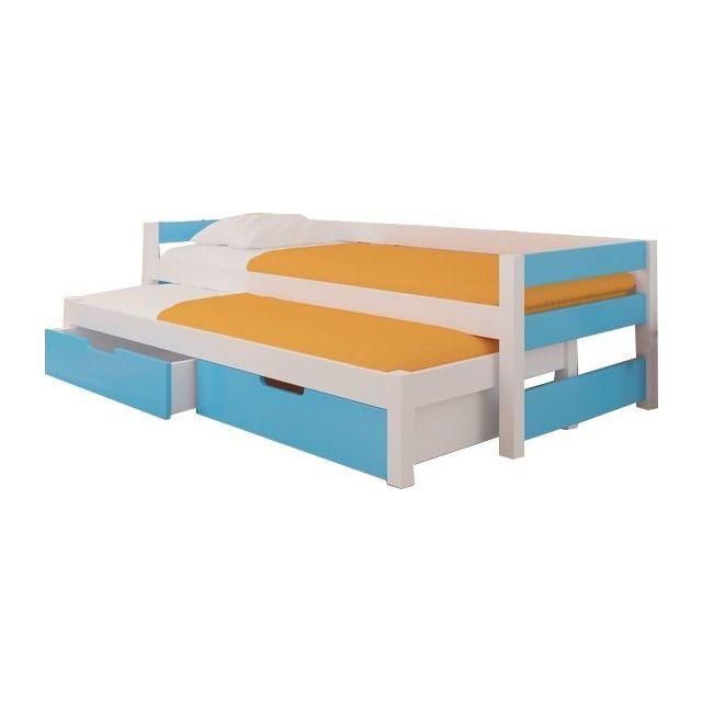 Comforium lit gigogne enfant 90x200 cm en pin et mdf coloris blanc et bleu avec 2 tiroirs de - Lit gigogne avec tiroirs de rangement ...