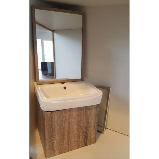 Rue du bain ensemble petit meuble de salle de bain ch ne fil blanchi 44x36 cm daily - Meuble salle de bain rue du commerce ...
