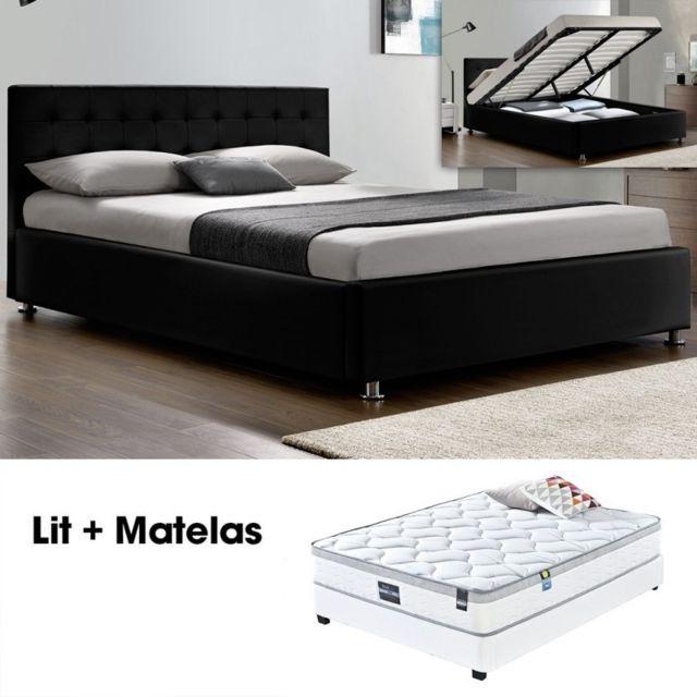 Meubler Design Lit Complet Capitole Matelas Romance 140 Noir