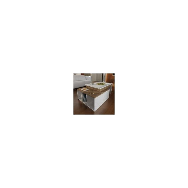 Alphamoebel Table basse Colorado blanc-noyer 92x37,4x60cm