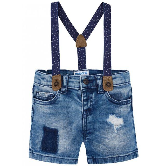 096d1806ac84d Princesse Ilou - Short en jean avec bretelles Bleu - 12 - pas cher ...