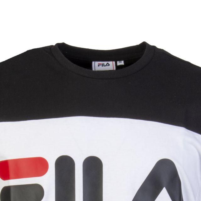 FILA Tee-shirt col rond Day en coton à opposition de couleurs blanc, noir et gris floqué