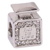So Chic Bijoux - Charm Perle Flacon Bouteille Parfum Eau de love Cristal Blanc Argenté - Compatible Pandora, Trollbeads, Chamilia, Biagi