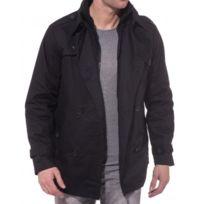 BLZ Jeans - Veste Trench Noire Boutonnée et Zippée