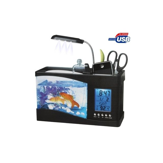 Wewoo Usb Desktop Aquarium Mini Fish noir Tank avec de l'eau courante et 6 Led Light, affichage de l'horloge Lcd avec calendri