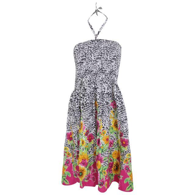 098df7f9bf9 Generic - Robe d été 3 en 1 à motifs tournesols - Femme (M