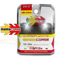 MomoCorse - 2 Ampoules H1 - Ice White - 12V 55W 4000K - Rendu 110W - Homologue